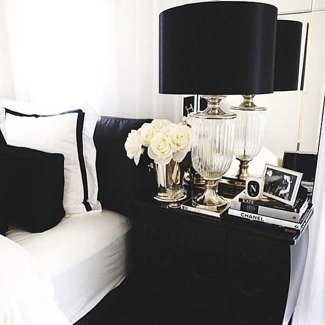 black and white bedding with roses lamp headstand furniture decor