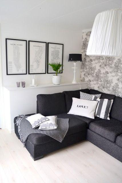 light floor dark couch toile wallpaper frames like it all black furniture decor m