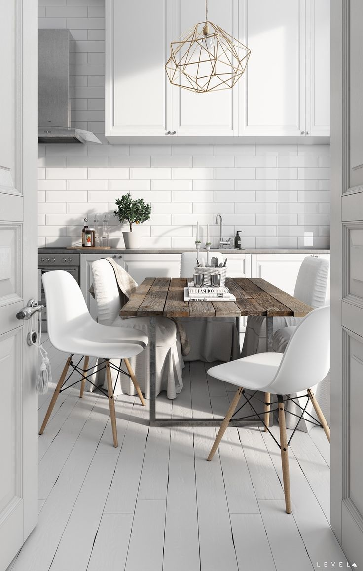 scandinavian kitchen white kitchen table What s not to love about this dining room kitchen combo There s a clean white
