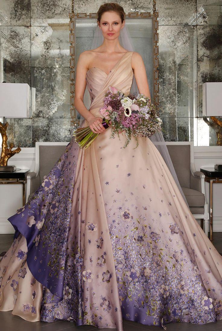 romona keveza wedding dresses champaign wedding dress One shoulder champagne ballgown with lavender floral details Romona Keveza Spring https