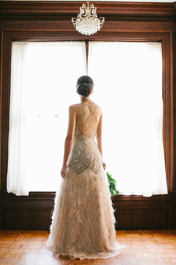 great gatsby wedding wedding dresses Sparkly dress with feathered skirt by Sue Wong image by Taken by Sarah Photography