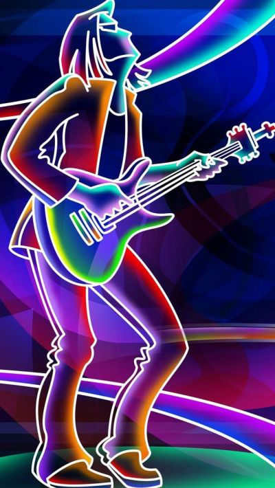 Neon Lights Glow Rock n Roll Guitar Player Music iPhone Wallpaper | Color - Glitter Sparkle Glow ...