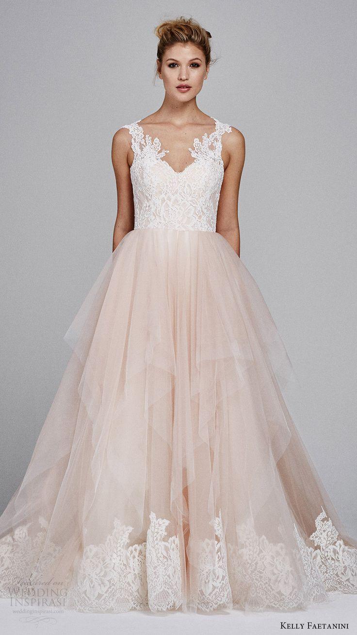 pink blush gowns aline wedding dress KELLY FAETANINI fall sleeveless sweetheart lace bodice aline wedding dress azalea mv blush