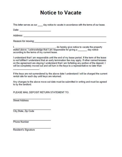 Printable Sample Vacate Notice Form | Laywers Template Forms Online | Pinterest