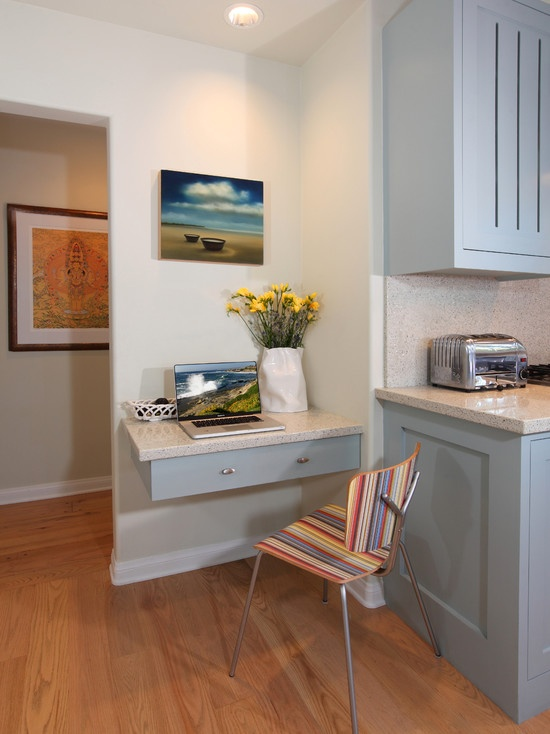 A Floating Desk Drawer Provides A Handy Corner For Paying Bills Or Reading Recipes In This Small Kitchen Office Nook The Is Painted The Same Cool Blue   K