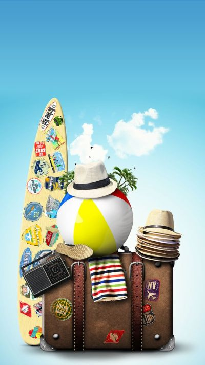 TAP AND GET THE FREE APP! Art Creative Sky Bag Beach Travel Vacation Palms Sun Holiday HD iPhone ...