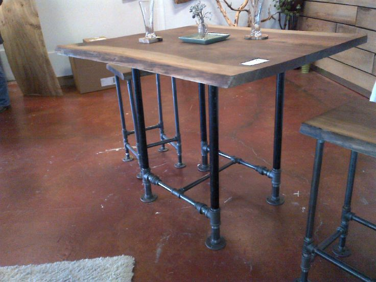 pub table with two stools black walnut and iron pipe industrial furniture m