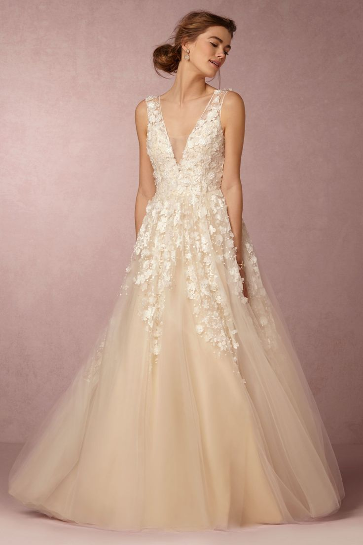 bhldn wedding floral lace wedding dress lace tulle wedding dress with 3D floral appliqu designed by Etolie Ariane Gown