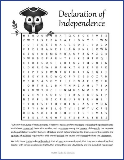 Declaration of Independence Word Search | Fun words, Word search puzzles and Word search