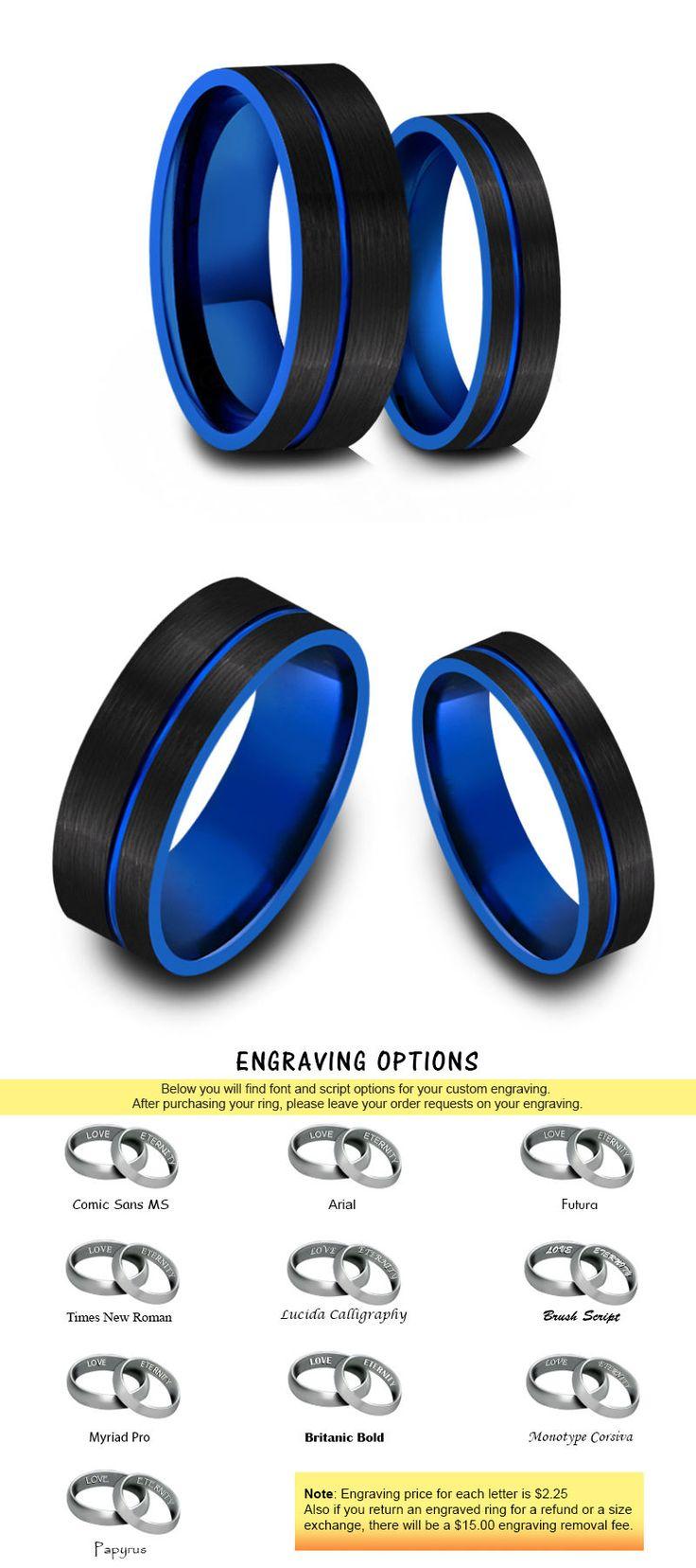 black tungsten wedding bands ebay wedding rings sets Other Wedding Ring Sets Tungsten Wedding Band Matching Set Blue And Black Tungsten