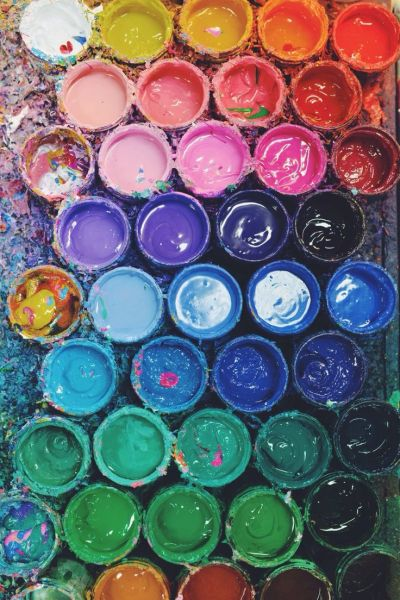 paint buckets in different colors aligned together - iphone wallpaper background cell phone ...