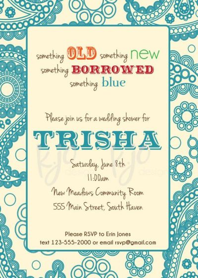 Custom Bridal Shower Invitation - Something old, something ...