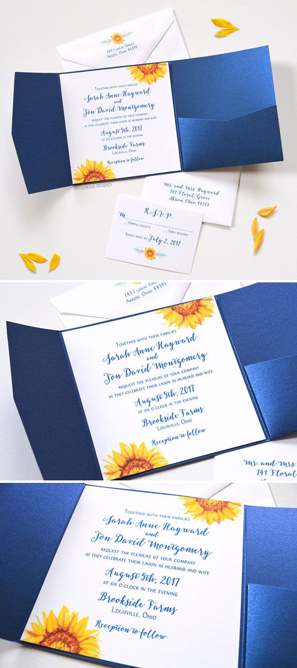 sunflower wedding invitations customizable wedding invitations Watercolor Sunflower Blooms Pocket Folder Invitations perfect for a fall wedding Now