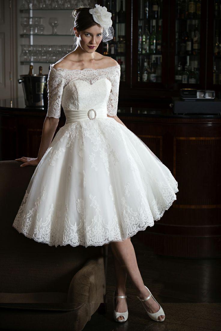 bridal looks 50s wedding dress Lace off shoulder 50s 60s style short wedding dress from our Bridal Look
