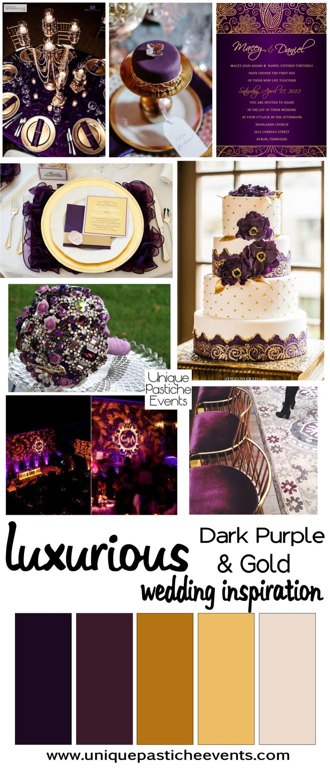 purple gold weddings purple and gold wedding Dark Purple and Gold Luxurious Wedding Ideas Inspiration by Unique Pastiche Events
