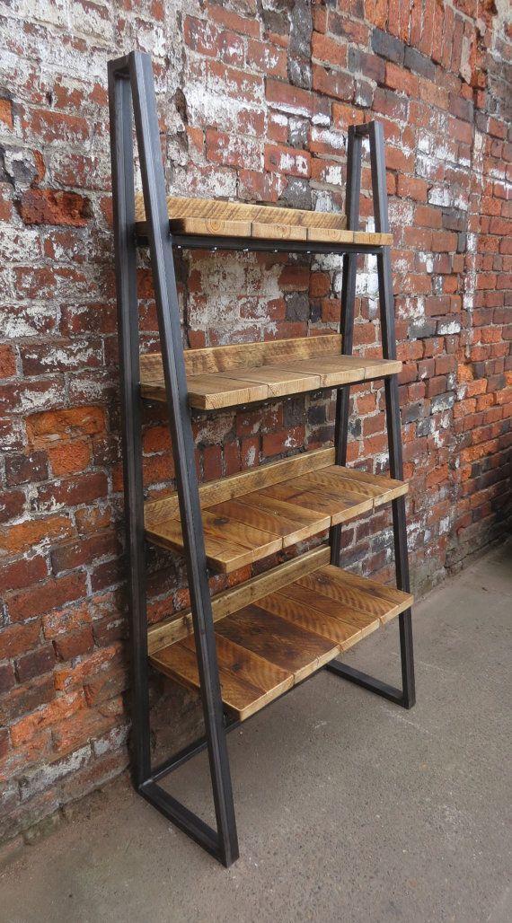 industrial chic reclaimed custom steel wood bookcase media shelving unitdvd books cafe restaurant furniture rustic office filing 181 metal