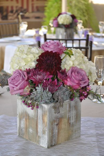Fall and rustic style centerpiece using lavender and plum ...