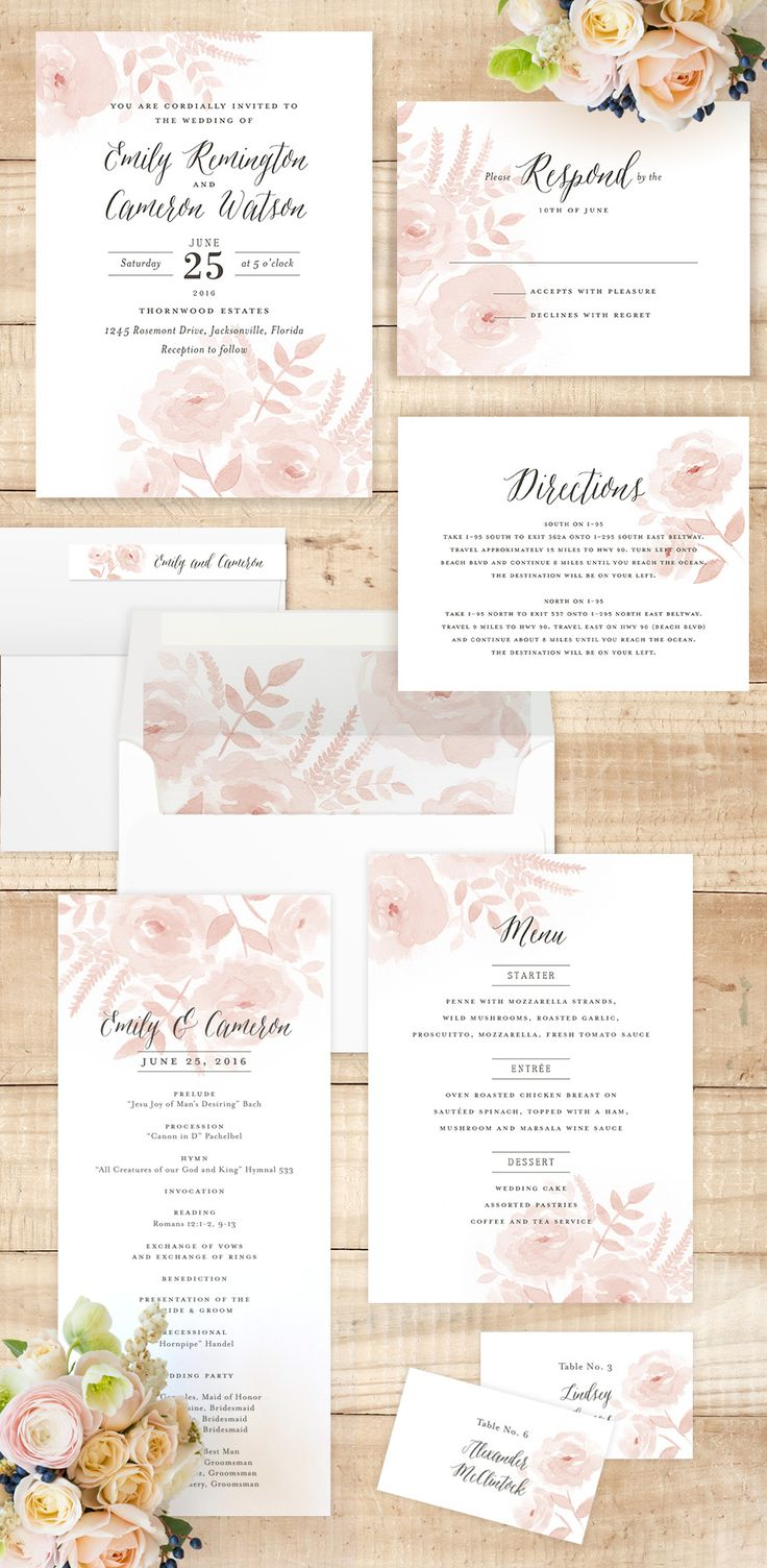 watercolor wedding invitations wedding invitation suites Watercolor Floral Customizable Wedding Invitations in Gray by Jill Means