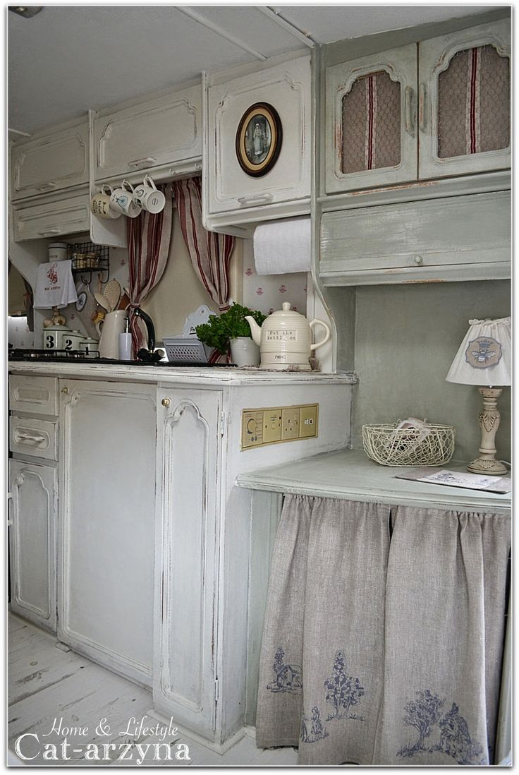 shabby chic campers rv kitchen cabinets Find this Pin and more on contest tiny home Cottage Kitchen w cabinet