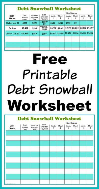 Free Printable Debt Snowball Worksheet- Pay Down Your Debt! | Debt snowball worksheet, Debt ...