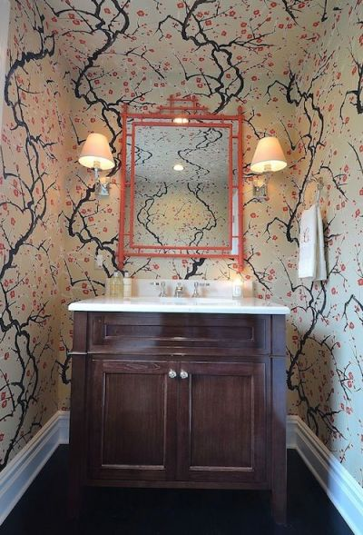 Powder Room - Small powder room with a big bang.....over the top wall covering, glass sink and ...
