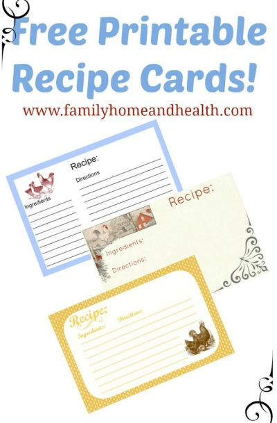 Free Printable Recipe Cards-3 Different Chicken Designs | Printable recipe cards, Pinterest ...