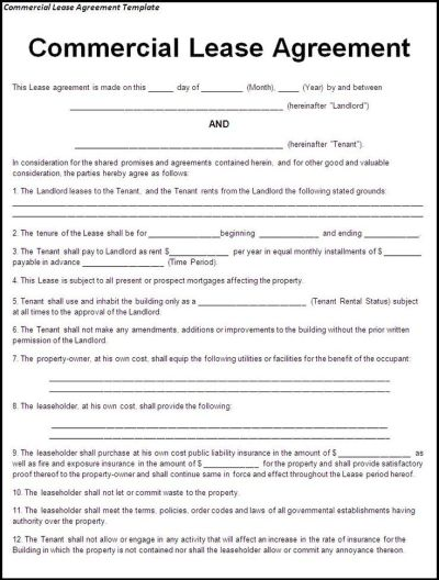 Printable Sample Lease Agreement Template Form | Real Estate Forms | Pinterest | Real estate ...