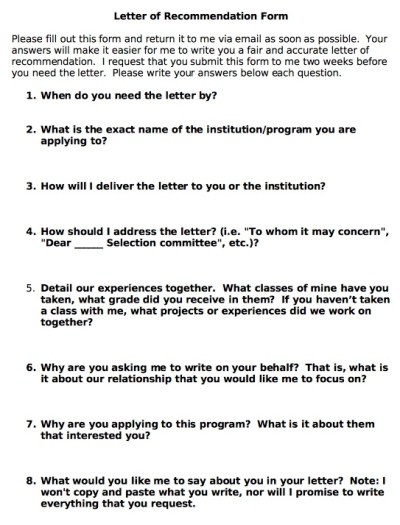 When asking for letters of recommendation, it is great to include the answer to these questions ...
