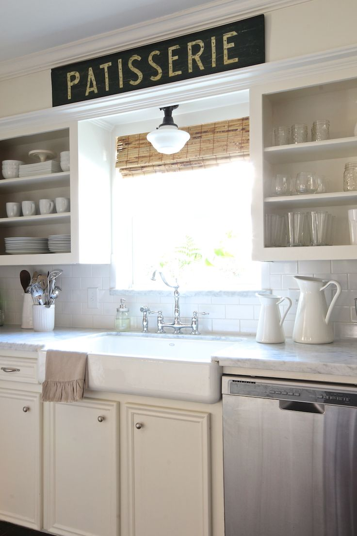 kitchen sink lighting farmhouse kitchen lighting fixtures Open shelving farmhouse sink bridge faucet schoolhouse light carrara marble love