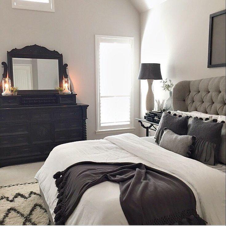 master bed tufted grey headboard white black furniture r