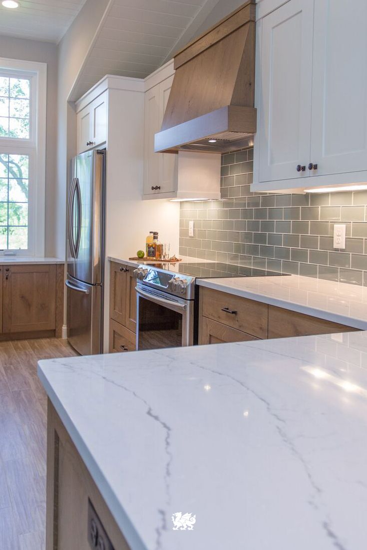 quartz countertops countertop kitchen Our Ella quartz countertop is a soothing complement to a beachy and coastal kitchen renovation