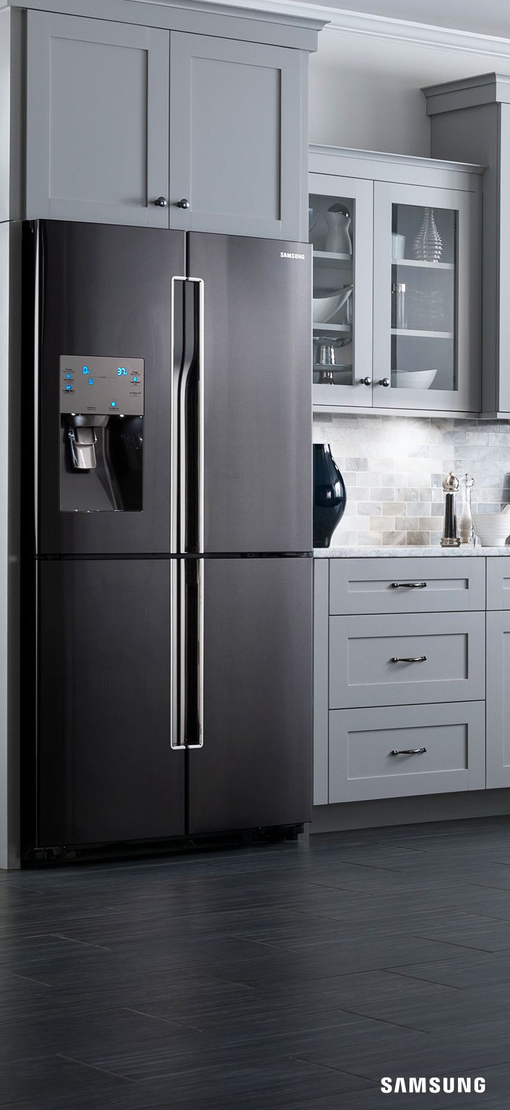 stainless steel kitchen inspiration stainless steel kitchen cabinets The next thing in kitchen inspiration is the Samsung Black Stainless Steel 4 Door Flex