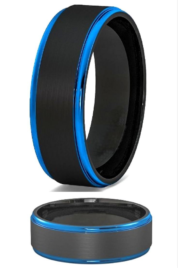 andy rings rubber mens wedding band 8mm Blue Black Mens Tungsten Wedding Band With Step Down Edges