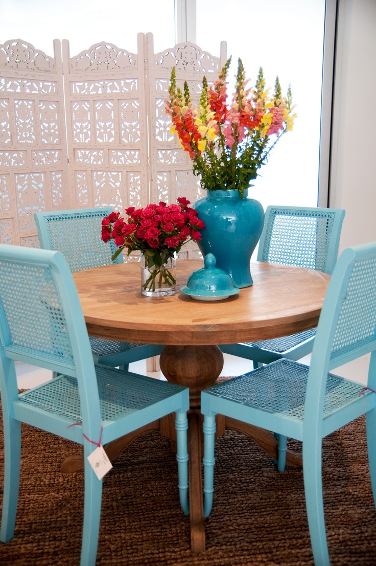 i think i want to paint my chairs blue teal kitchen chairs Blue chairs with natural table