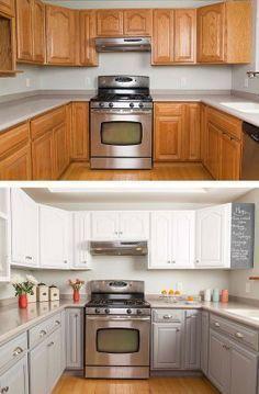 Unique Painting Oak Kitchen Cabinets White For Decorating