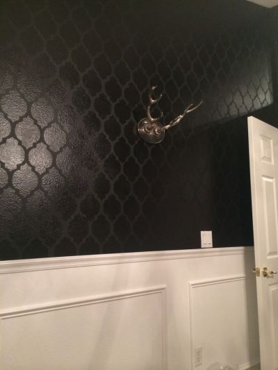 High gloss on matte black stenciled walls, over white high gloss wainscoting. Office walls. | My ...