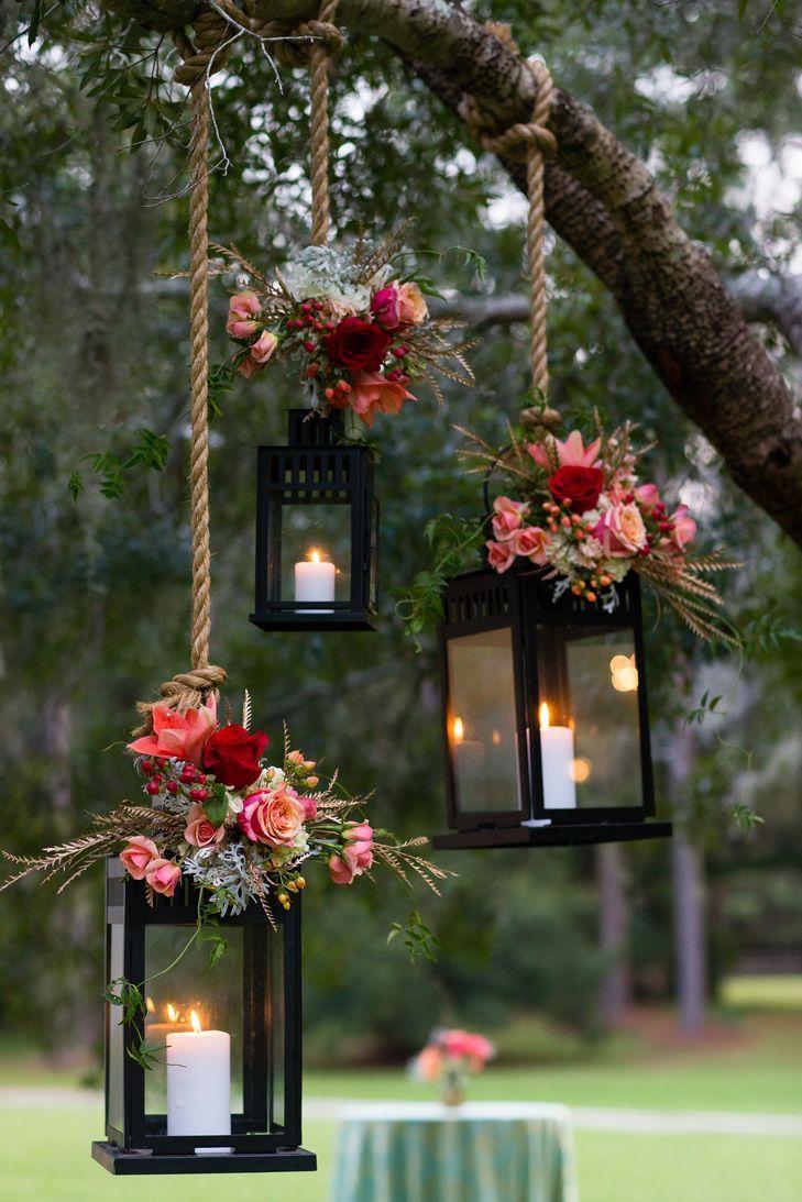 garden wedding decorations wedding decoration Pink Flower Decorated Hanging Lantern Wedding Decor Hopkins Studios https www