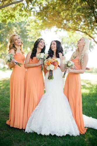 orange wedding dresses fall wedding dresses Save on Sheath Graceful Sweetheart Chiffon Ruffles Orange Bridesmaid Dress Great Sale