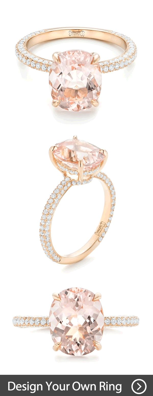 engagement rings online wedding rings online Custom Morganite and Pave Diamond Rose Gold Engagement Ring Browse hundreds of custom pieces