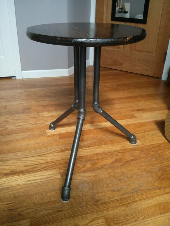 industrial style table with black steel pipe legs the worthy gentleman etsy iron furniture r