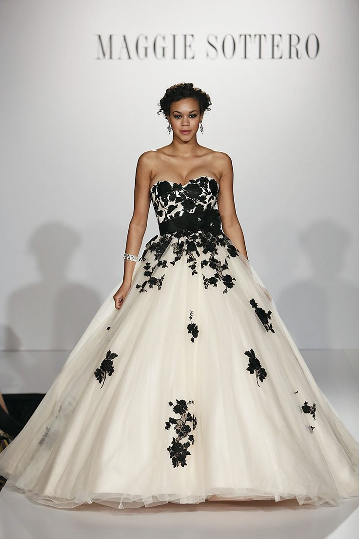 wedding dress ideas white wedding dresses Black and white wedding dresses we love via Project Wedding