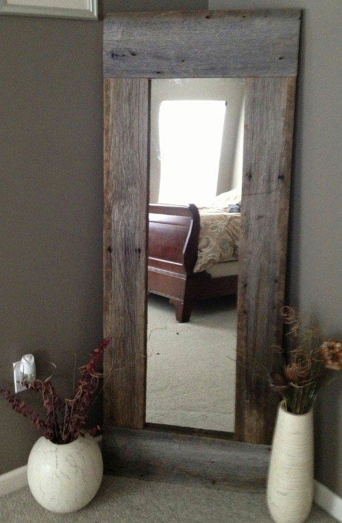 use some reclaimed wood and a cheap walmart or target mirror to make rustic full furniture ideas