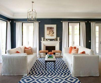 GEORGICA POND: Navy Blue Grasscloth wallpaper. same rug | Living Room Shopping | Pinterest ...