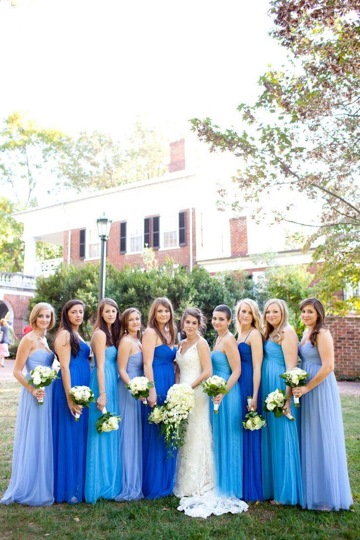 wedding blue combinations wedding dresses with blue ombre blue bridesmaid dresses via 30 Best Ombre Wedding Ideas