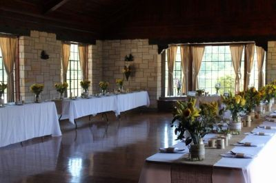 View of main hall set up for wedding reception - Raven ...