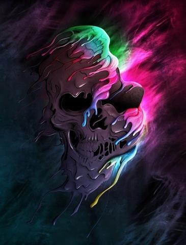#Multicolored #melting #skull #badass | Wallpapers | Pinterest | Skulls
