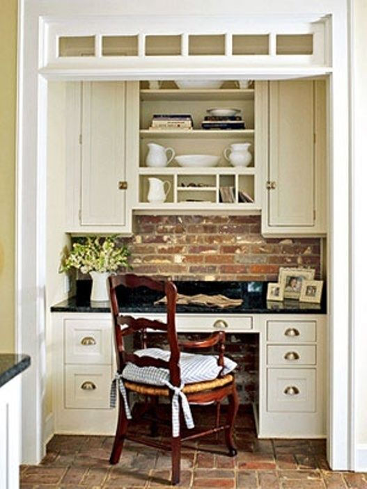 Cute Desk Area Off Side Of Kitchen For Scheduling Love Back Splash Maybe In A Hallway It Would Never Be Clean So I Wouldnu002639t Want It Out Where   Pinterest