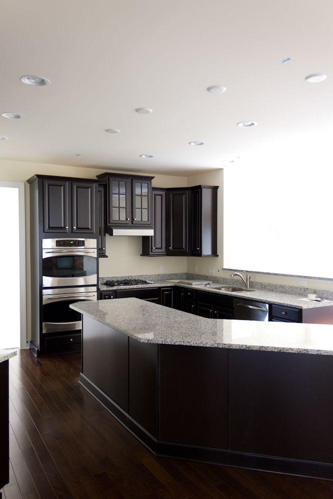 Plain Dark Kitchen Cabinets Colors Luna Pearl And Espresso Inside Decorating