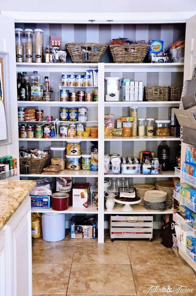 My Pantry Makeover {Before& After} | Shelves, Wallpapers and Wheels