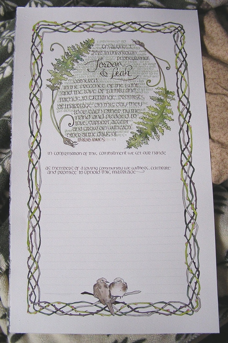 wedding certificate wedding certificate Would love to have our wedding vows done and framed Wonder what other designs she can do